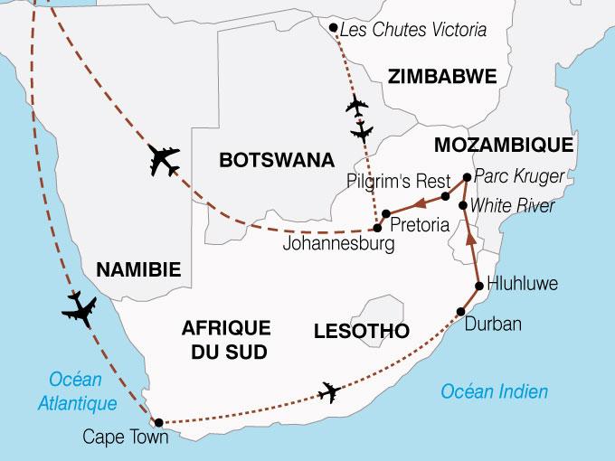 Carte Afrique Du Sud Namibie.Circuit Afrique Du Sud Botswana Zimbabwe Afrique