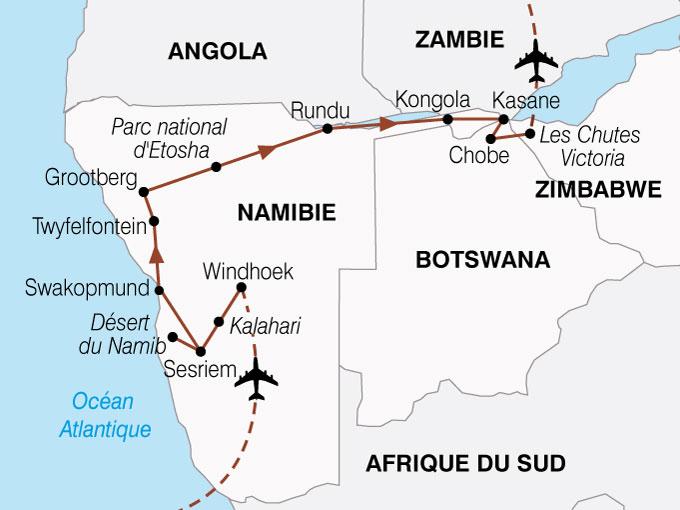 Carte Afrique Du Sud Namibie.Circuit Afrique Du Sud Botswana Namibie Zimbabwe