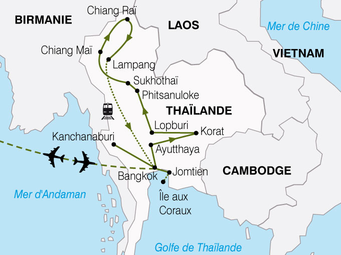 Carte Thailande Aeroport.Circuit En Thailande Panoramas Thailandais 14 Jours Bt Tours