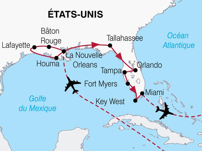 CARTE USA Lousiane Floride  shhiver 532397