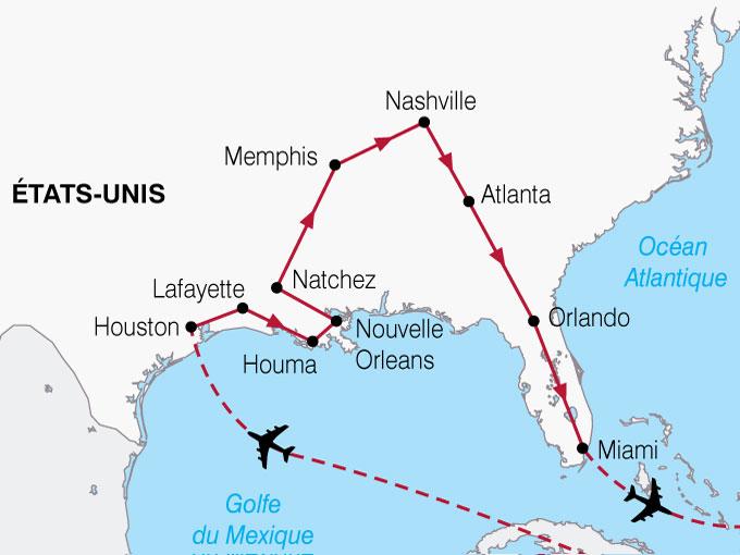 CARTE USA Texas Louisiane Floride  shhiver 789214
