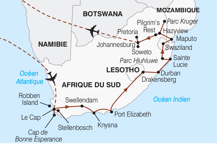 Carte Afrique Du Sud Parc Kruger.Circuit Afrique Du Sud Mozambique Le Grand Tour D
