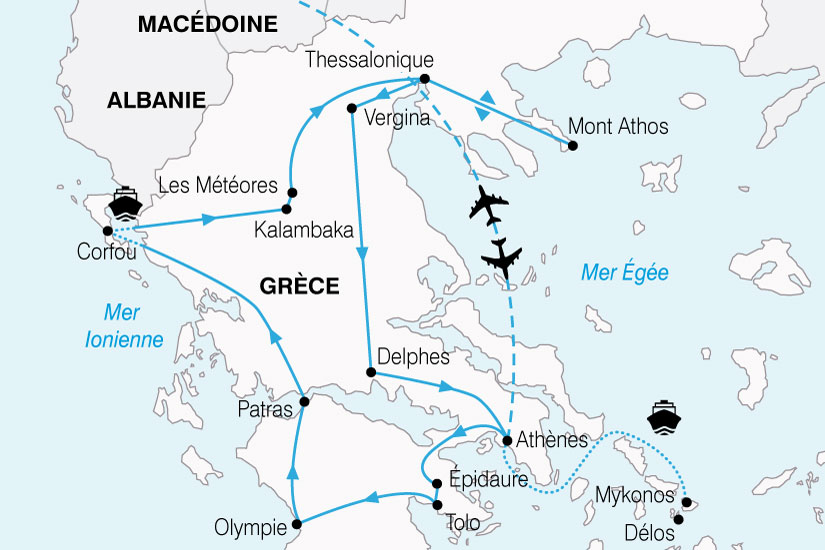 Carte Grece Corfou.Circuit En Grece L Odyssee Grecque 14 Jours Bt Tours