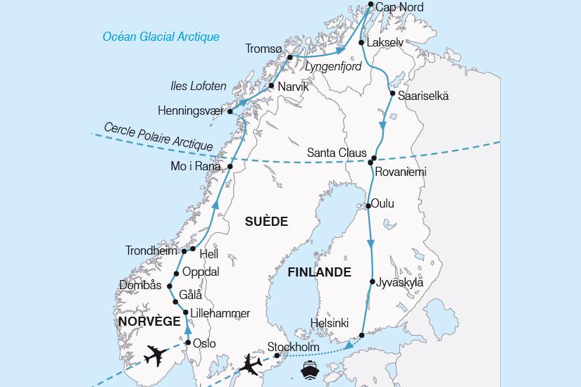 carte Norvege Finlande Suede Le Grand Tour de Scandinavie SH19 20_319 115932