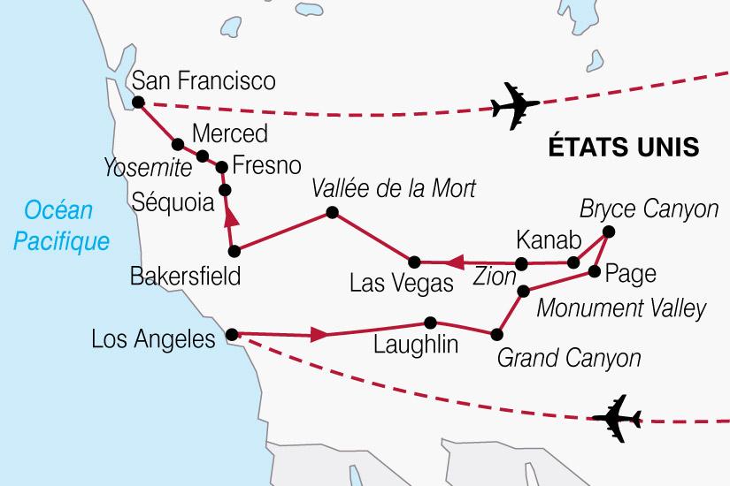 Carte Etats Unis Ouest.Circuit Aux Etats Unis Panoramas De L Ouest Americain 12