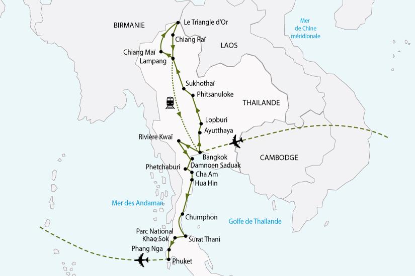Carte Complete Thailande.Circuit En Thailande La Thailande Du Nord Au Sud 18 Jours