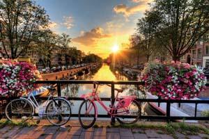 hollande amsterdam eau lever soleil pays bas fleurs velos pont printemps 38 fo_91108597
